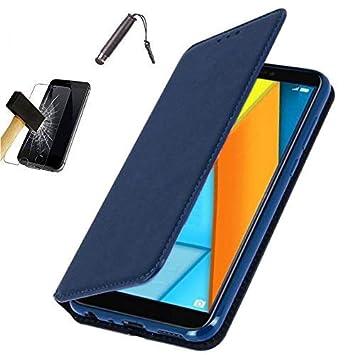 Funda Carcasa Azul para Samsung Galaxy j6 2018 (Cierre magnético) + Protector Cristal Templado + Làpiz