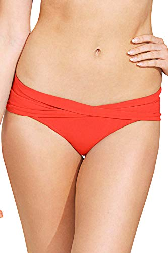 (Robin Piccone Women's Ava Solids Twisted Sash Hipster Bikini Bottom Sunrise L)
