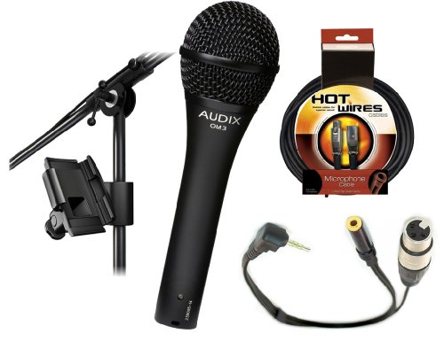 Audix OM3 Dynamic Vocal Microphone With XLR Jack to iPhone, iPad2, iPod Touch and Other Compatible Device for Professional Recording, with a 3.5mm Mini Jack for Headphones & IKLIP Mini - Universal microphone stand adapter by DBR