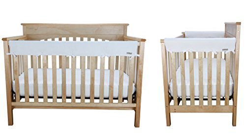 Crib Wrap 3PC Rail Cover Set By Trend Lab - 1- 51'' Front Rail Cover 2- 27'' Side Rail Covers, White Fleece by Trend Lab