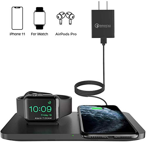 Wireless Charger, Seneo 2 in 1 Dual Wireless Charging Pad with iWatch Stand for iWatch 5/4/3/2