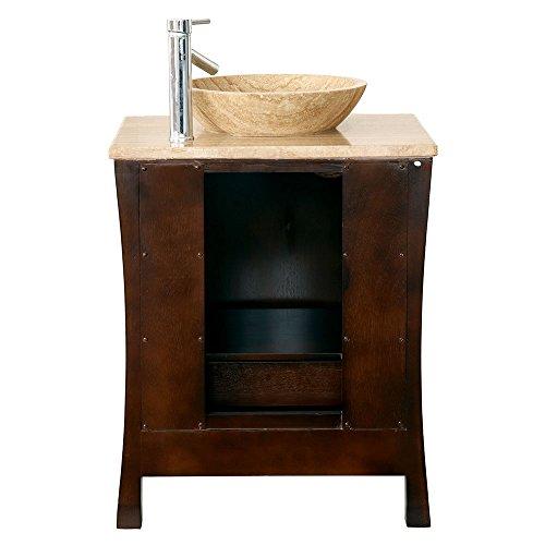 26'' Bathroom Furniture Travertine Top Double Sink Vanity Cabinet 714T by Silkroad Exclusive (Image #3)