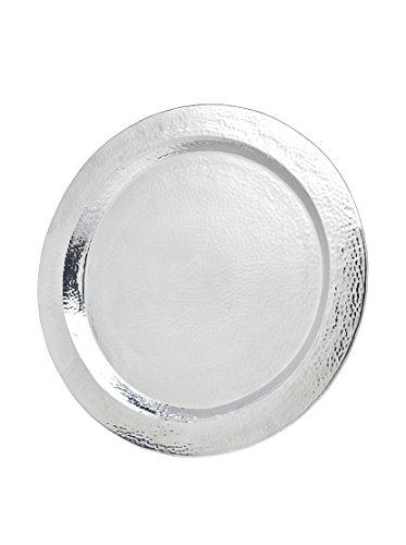 Godinger Hammered Large Round Tray, 24-Inch (Large Round Silver Tray)