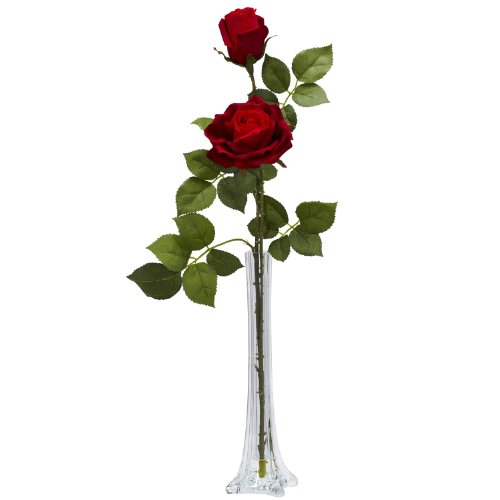 Arrangements Bud Vase - Nearly Natural 1283 Roses with Tall Bud Vase Silk Flower Arrangement, Red