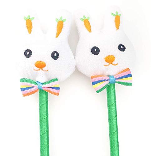 Bunny Pens Easter Party Favors, White Rabbit Plush Top Kids Goody Bag Stuffers Basket Filler Birthday Supplies Decorations 12 Pack ()