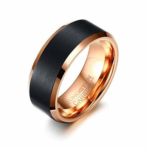 Anillo de Tungsteno 8 mm para hombre negro carburo de tungsteno Anillo de boda de tungsteno