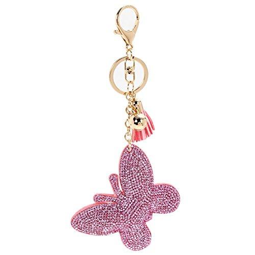 (Diamondo Women Keychain Cover Rhinestone Inlaid Leather Butterfly Keychain Pink)