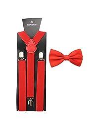 HABI Men Women Suspender Bow Tie Set Clip On Y Back Adjustable Braces (Style 18)