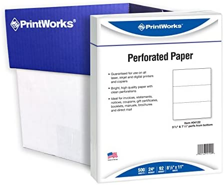 "PrintWorks Professional Perforated Paper for Statements, Invoices, Gift Certificates, Coupons and More, 8.5 x 11, 24 lb, 2 Horizontal Perfs 3 2/3"" and seven 1/3"" From Bottom, 2500 Sheets, White (04122C)"