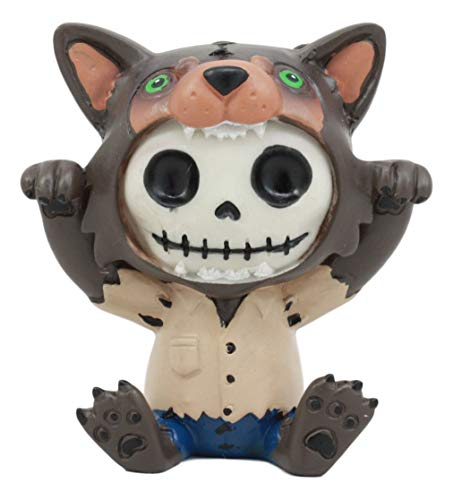 Ebros Furrybones Wolfie The Werewolf Figurine Small 3 Inch Furry Bones Werewolf Or Wolf Skeleton Monster Statue Collectible]()