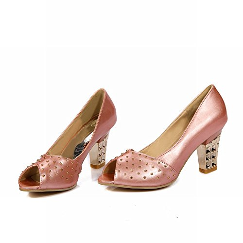 Latasa - Scarpe Eleganti Con Tacco A Spillo Borchiato E Tacco Alto In Vernice Rosa