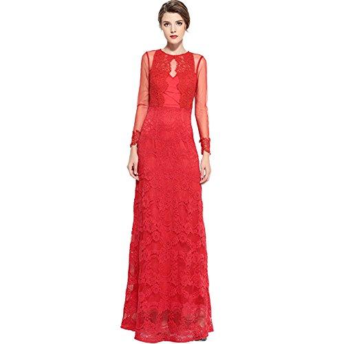 Cotylédons Women`s La Dentelle Robes De Robe Longue Robe Long Cou Scoop Manches Rouge