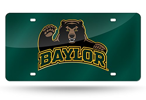 Green Laser Cut License Plate - NCAA Baylor Bears Laser Inlaid Metal License Plate Tag, Dark Green