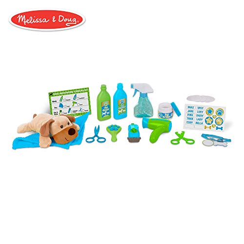 Melissa & Doug Wash & Trim Dog Groomer Play Set With Plush Stuffed Animal Dog  (20 pcs)]()