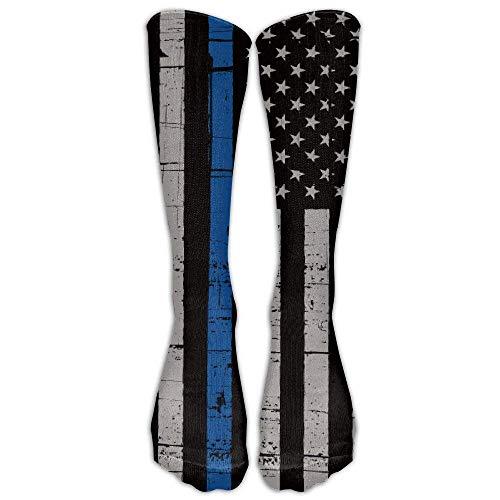 Police Thin Blue Line Flag Knee High Athletic Socks Unisex Sport Long Tube Stockings for Running,Hiking,Soccer ()