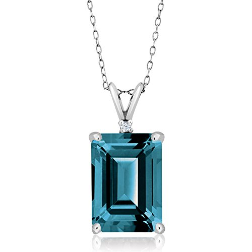 Gem Stone King London Blue Topaz 925 Sterling Silver Pendant Necklace 8.52 Ctw Emerald Cut Gemstone Birthstone with 18 Inch Silver Chain