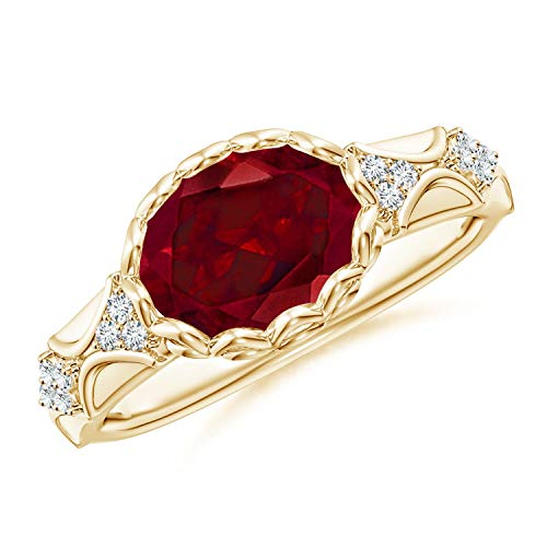 Oval Garnet Vintage Style Ring with Diamond Accents in 14K Yellow Gold (9x7mm Garnet)