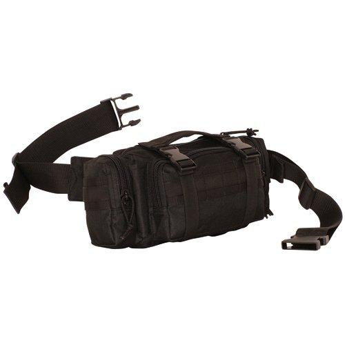 Black Modular Deployment Waist Bag – 11.5 x 6 x 5.5 Inches, MOLLE Compatible Waist Pack, Outdoor Stuffs