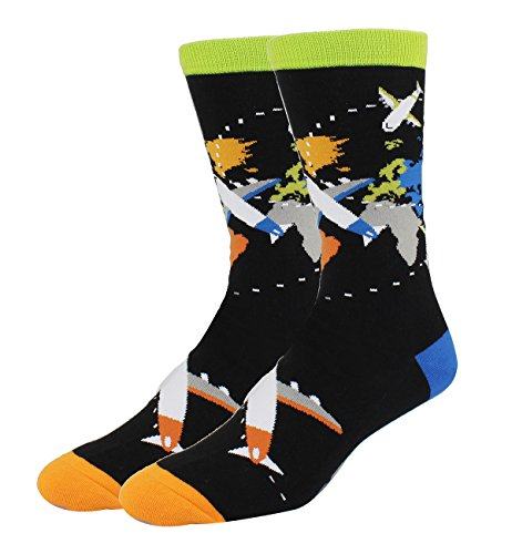 - Men's Novelty Funny World Map Airplane Crew Socks, Colorful Aircraft Travels Cotton Dress Socks in Black