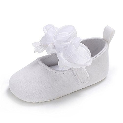 Image of BENHERO Baby Infant Girls Soft Sole Floral Princess Mary Jane Shoes Prewalker Wedding Dress Shoes