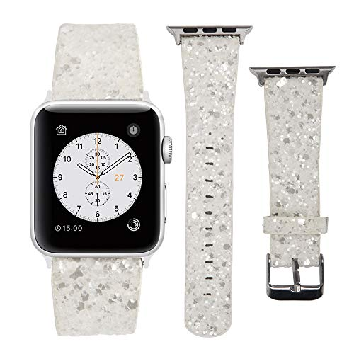 MIFFO Compatible with Apple Watch Band 38mm 40mm 42mm 44mm, 3D Glitter Bling Leather Wristband iWatch Strap Replacement for Apple Watch Series 4 Series 3 Series 2 Series 1 (Z-White, 42mm/44mm)