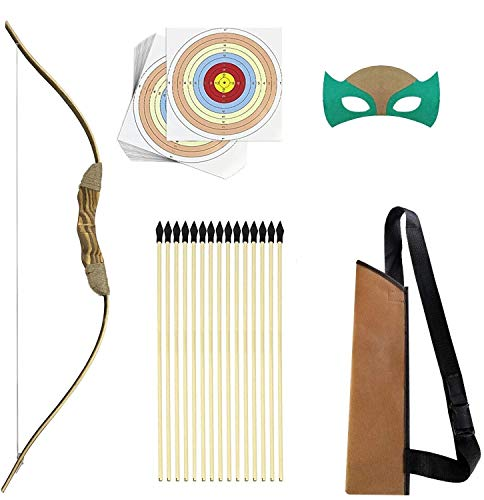 Knidose Beginners Bow and Arrow For Kids - Safe Rubber Tips Archery Set Outdoor or Indoor Party Fun, Handcrafted Wooden Toy for Shooting and Cosplay Costume ()