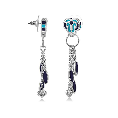 Lauren G Adams Rhodium Plated Enamel and CZ Charms Dangle Post Earrings