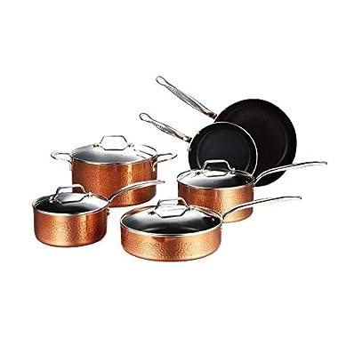 COOKSMARK 10-Piece Cookware Pots and Pans Set Nonstick Induction Aluminium Dishwasher Safe Hammering Copper