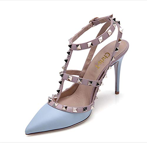 Sandals Chris Toe Slingback Blue Pointed Gold Stud Studded Leather 14 Stilettos Women Pumps Matte T 4 High Strappy US Heels ppqngSxr