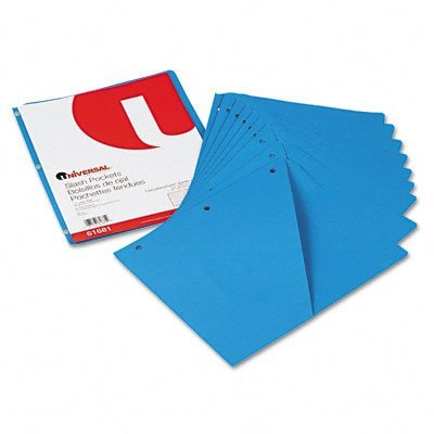 (Universal Products - Universal - Slash-Cut Pockets f/3-Ring Binders, Jacket, Letter, 11 Pt., Blue, 10/Pack - Sold As 1 Pack - Three-hole punched pockets hold loose papers within binders. - Double as dividers. - Die-cut storage pocket holds a diskette or CD. - 11 pt. stock. - )