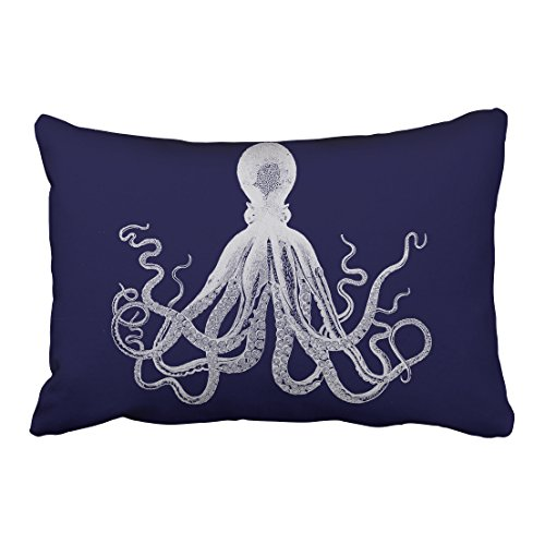Accrocn Decorative Throw Pillowcase Queen 20x30 Inches White Octopus Silhouette Drawing Navy Blue Background Cotton Decorative Pillow Cover With Hidden Zipper Decor Cushion