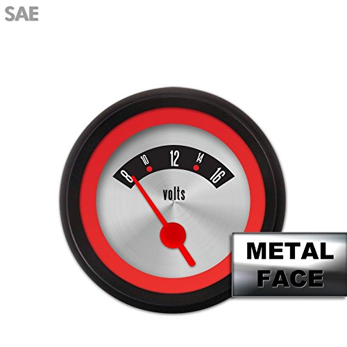 Aurora Instruments 6566 Modern Rodder Gray Metric Volt Gauge White Vintage Needles, Chrome Trim Rings, Style Kit DIY Install