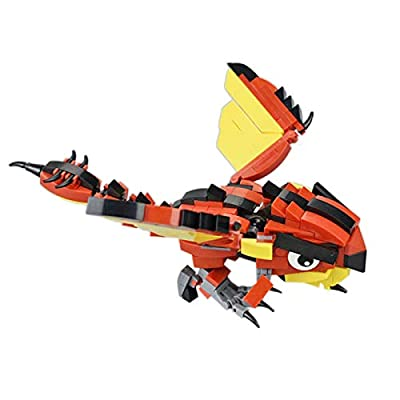 ECLENYES 266Pcs STEM MOC Q Fiery Dragon Model Small Particle Building Blocks Educational Toy Set (The Product is not Made and Sold by Lego and has no Connection with Lego) - Red: Home & Kitchen [5Bkhe0806768]