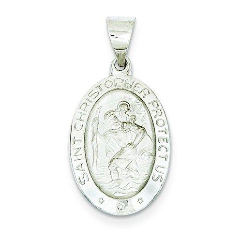 Or blanc 14 carats et poli satiné St. Christopher médaille collier pendentif-JewelryWeb