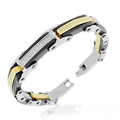 My Daily Styles Stainless Steel Black Yellow Gold-Tone Silver-Tone CZ Greek Key Link Mens Bracelet