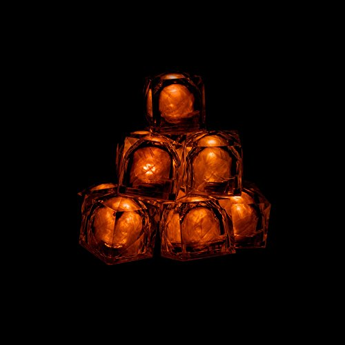 12 Pack - LED Light-Up Blinky Ice Cubes - Party Supplies for Wedding, Bar and Parties - Orange