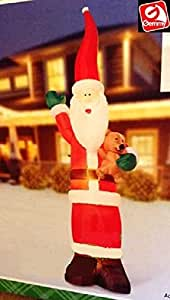 CHRISTMAS INFLATABLE 9 FT TALL SKINNY SANTA HOLDING TEDDY BEAR