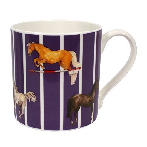 Milly Green Horse Design Large Purple Fine Bone China Mug - Hand Decorated in Uk