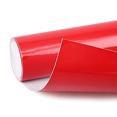 uxcell Gloss Red Bubble Free Self Adhesive Car Vinyl Film Wrap Sticker Decal 152cm x 30cm: Automotive