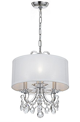 Crystorama 6623-CH-CL-MWP Transitional Three Light Mini Chandelier from Othello collection in Chrome, Pol. Nckl.finish, 15.00 inches ()