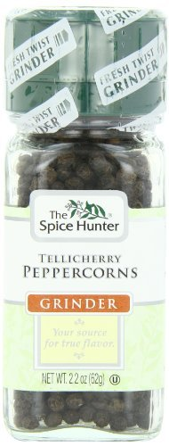 Spice Hunter, Tellicherry Peppercorn Grinder, 2.2 Ounce Jar