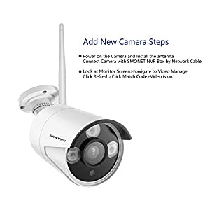 Wireless 960P IP Camera,SMONET 960P Surveillance CCTV Outdoor Indoor Bullet Camera with 4mm Lens High Resolution IR Cut 65Ft Night Vision,3pcs Array LED Light and Bracket, No Power Adapter from SMONET
