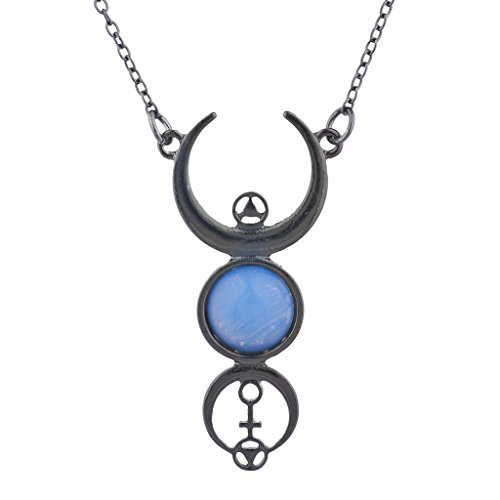 tite Mystical Gothic Moonglow Celestial Pendant Necklace (Moonglow Stone)