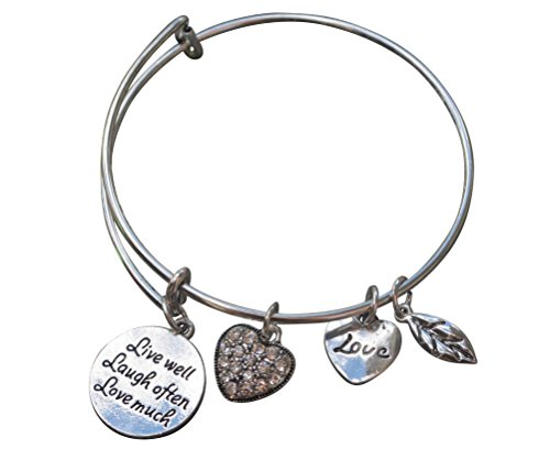 Infinity Collection Live Well Love Much Laugh Often Adjustable Wire Bangle Bracelet- Inspirational Expandable Charm Bracelet, for Her