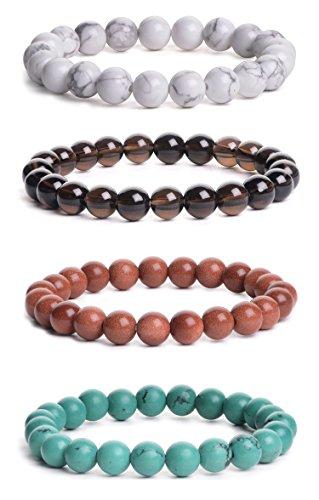 Set Stretch Bracelet Bead (iSTONE Mens Womens Natural Gemstone 8MM Round Beads Healing Power Stretch Bracelet Set of 4 (Howlite+Smoky Quartz+GoldenStone+Turquoise) 204722000)