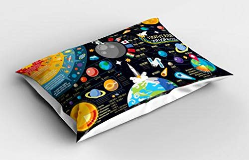 Lunarable Outer Space Pillow Sham, New Horizons of Solar System Infographic Pluto Venus Mars Jupiter Skyrocket, Decorative Standard Queen Size Printed Pillowcase, 30 X 20 Inches, Multicolor