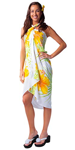 b365f945c4 1 World Sarongs Womens Hawaiian Swimsuit Cover-Up Sarong in Yellow Green  White