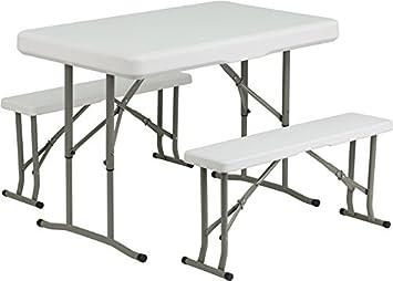 Amazon.com: Flash Furniture Plastic Folding Table and Bench Set ...