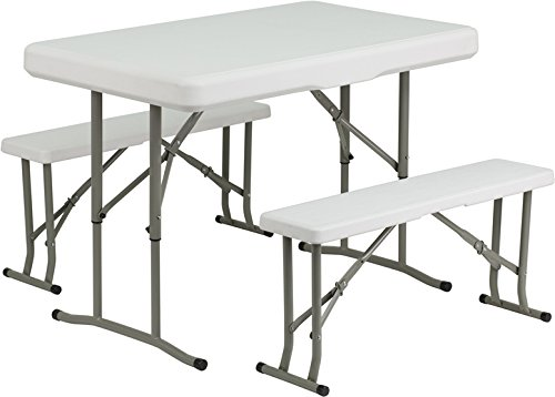 Flash Furniture Plastic Folding Table and Benches (Plastic Chairs And Tables For Sale)