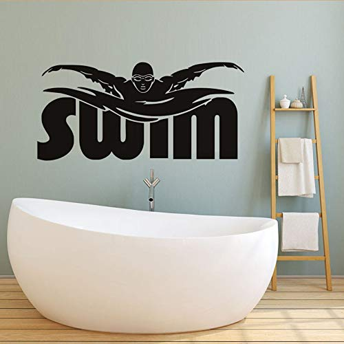 Swim Quote Sport Wall Sticker for Kids Room Sport Center Playground Gym Wall Decals Home Decor Vinyl Stickers Muraux Poster -